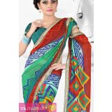 Jade Green And Brown Georgette Printed Saree