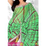 Lime Green And Cordovan Brown Georgette Printed Saree