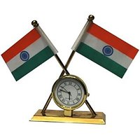 India Flag with Clock for Table/Car