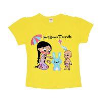 Luke and Lilly Chhota Bheem Fame Chutki and Raju Printed Cotton Round Neck Half Sleeves Baby Girls Yellow Casual T-Shirt