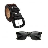 Fashno Combo Of 1 Black Belt And 1 Black Wayfarer