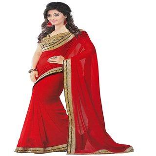 Yuvastyles Womens Ethnic Red Tone Chiffon Saree