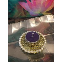 Tea Light Holder With Pearls And Net