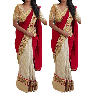 Latest Bollywood Designer  Red And Cream Georgette Saree