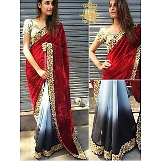 Latest Bollywood Designer Georgtte And Velvet Saree