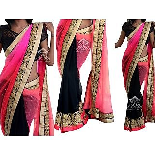 Latest Bollywood Designer Net And Georgette Pink And Black Saree