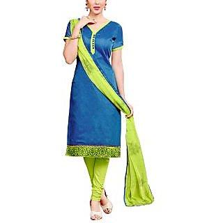Sareemall Blue Chanderi Printed Salwar Suit Dress Material