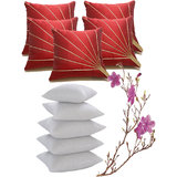 Blooms Ray Cushion Cover Red With Fillers 40X40 Cms (10 Pcs Set)