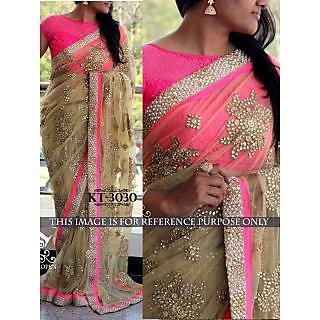 Latest Bollywood Designer Beige And Pink Naylon Net Saree