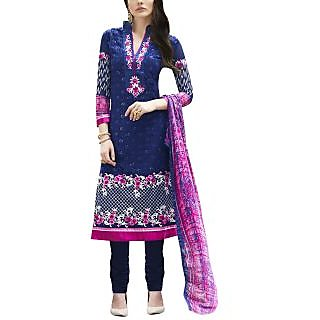 Sareemall Blue Self Designer Semi Stitched Salwar Suit With Dupatta