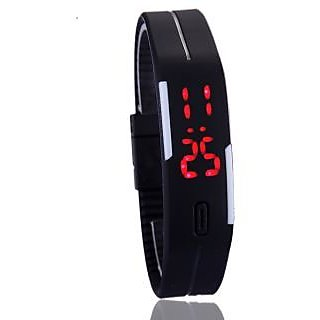Frenzy Men Women LED Digital fashion Watch Sports Bracelet Watch Black