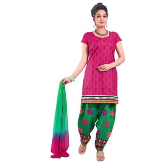 embroidered Semi Stich Salwar Suit Duptta