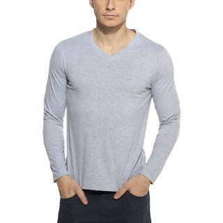 Zembo Wear Full Sleeve Grey V-neck T-shirt Dm001