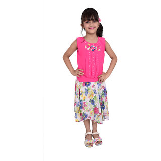 Girls Dress Skirts top Two-Piece Set by Arshia Fashions - sleeveless - Party wear - Pink