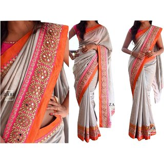 Heavy Lace Border Grey And Pink Overall Georgette Saree