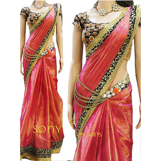 Designer Paper Silk Georgette Multicolor Saree