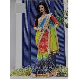 Designer Jaipuri Chiffon Half Half Saree