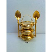 Brass Miniature Decorative Tiffin Box With Spoons By Brasstoys