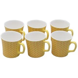 Potters Story Yellow Ceramic Tea Mug Set Of 6 For Coffee (170 Ml  7 Cm)-Dd5004