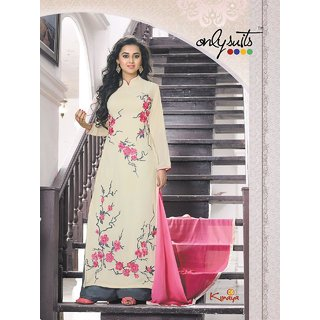 Trendz Apparels White Georgette Straight Fit Plazo Salwar Suit