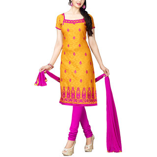Sareemall Mustard Embroidred Dress Material with Matching Dupatta 55KVY55008