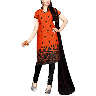 Sareemall Orange Embroidred Dress Material with Matching Dupatta