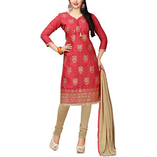 Sareemall Red Embroidred Dress Material with Matching Dupatta