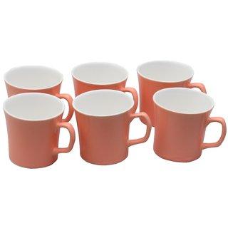 Potters Story Pink Ceramic Tea Mug Set Of 6 For Tea (160 Ml  7 Cm)-Lc2002