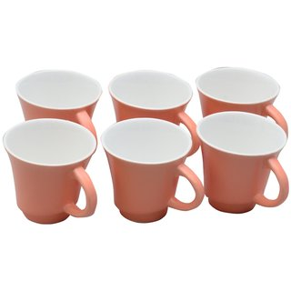 Potters Story Pink Ceramic Tea Mug Set Of 6 For Gifts (150 Ml  7 Cm)-Lc2008