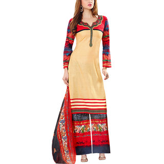 Sareemall Beige Self Designer  Printed Dress Material With Matching Dupatta
