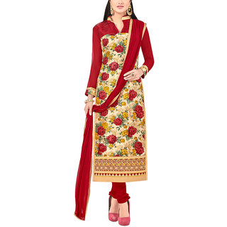 Sareemall Beige Printed Semi-Stiched Suit with Matching Dupatta
