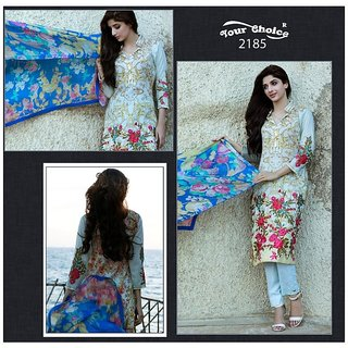Trendz Apparels Multicolor Lawn Cotton Straight Fit Salwar Suit