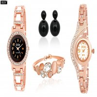 DCH Set of 2 Designer Rose Gold Analog Watches with Bracelet  Ear pin Tops