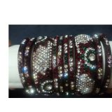 Beautiful Indian Lac Bangles With Jarkan Stones 10 Pcs Traditional And Handcraf
