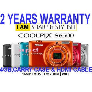 Nikon Coolpix S6500 16 Megapixels Digital Camera+full hd+wifi in built+12x ZOOM