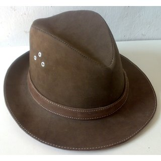 100% Genuine Brown Leather Hat/ Pich Cap 1035-P400