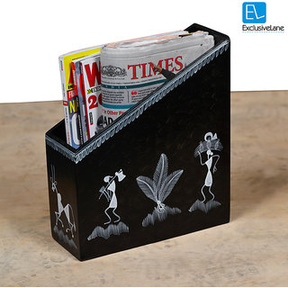 ExclusiveLane Warli Handpainted Magazine Cum Newspaper Stand In Wood