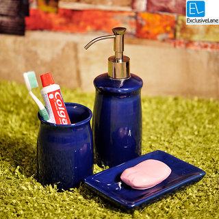 ExclusiveLane Elegant Ceramic Royal Blue Bathroom Accessory Set Of 3