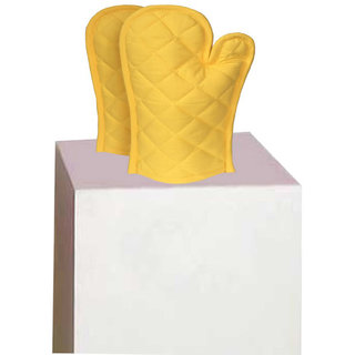 Lushomes Cotton Yellow Set of 2 Oven Mittens
