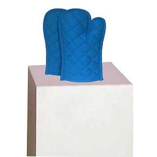 Lushomes Cotton Dark Blue Set of 2 Oven Mittens