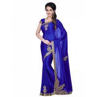 Leeps New latest jacquard blue saree ( With Blouse)