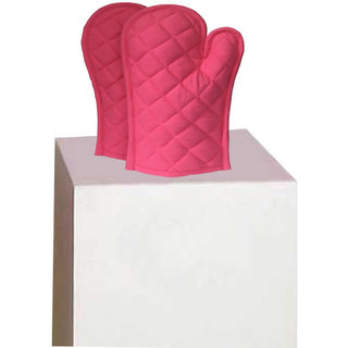 Lushomes Cotton Pink Set of 2 Oven Mittens