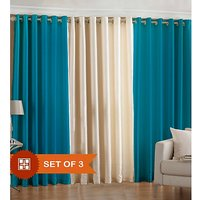 Beautiful Solid Crush Curtain - Combination Of Sky Blue And Cream
