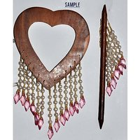 Beautiful Heart Shape Curtain Wooden Lock (Set Of 2 )