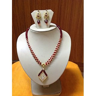Red And Gold Crystal Beads Necklace With Unique Designer Ear Rings