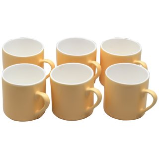 Potters Story Yellow Ceramic Coffee Mug Set Of 6 For Coffee (165 Ml  6.5 Cm)-Lc2016