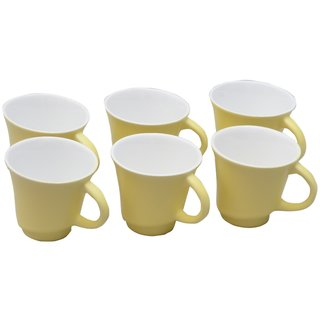 Potters Story Yellow Ceramic Tea  Coffee Mug Set Of 6 For Gifts (110 Ml  7 Cm)-Lc2018