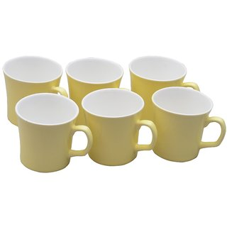 Potters Story Yellow Ceramic Tea  Coffee Mug Set Of 6 For Coffee (140 Ml  7 Cm)-Lc2021