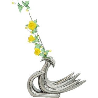 K.S Swan Silver Flower Vase in Ceramic for Living room