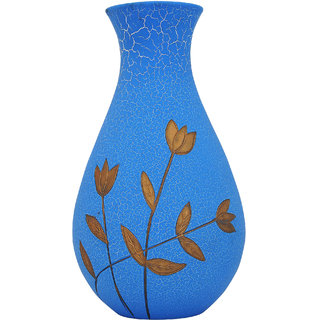 K.S Floral Blue Flower Vase in Wood for Bedroom